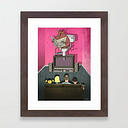 What's On Tv Framed Art Print by Steve Cutts - Conservation Walnut - X-Small-10x12