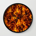 Fire And Flames Pattern Wall Clock by Gravityx9 - Black - Black