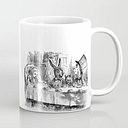 Vintage Alice In Wonderland Mad Hatter & Rabbit Tea Party Antique Goth Emo Book Gothic Drawing Print Coffee Mug by Igallery - 11 oz