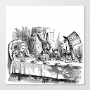 Vintage Alice In Wonderland Mad Hatter & Rabbit Tea Party Antique Goth Emo Book Gothic Drawing Print Canvas Print by Igallery - SMALL