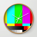 Smpte Television Tv Color Bars Wall Clock by Restored Art And History - Natural - White