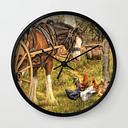 A Little Bit Country Wall Clock by Trudi Simmonds - Black - Black