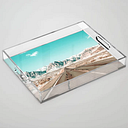 """Vintage Desert Road // Winter Storm Red Rock Canyon Las Vegas Nature Scenery View Clear Acrylic Organizer/serving Tray by Desertxpalm - Medium 15 1/2"""""""