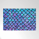 """Purples & Blues Mermaid Scales Outdoor Welcome Mat by Maryedenoa - 30"""" x 20"""