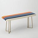 Classic Retro Stripes Bench/ottoman by Alphaomega - Gold