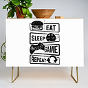 Eat Sleep Game Repeat | Video Game Console Gaming Modern Credenza Cupboard by Anziehend - Gold - Birch
