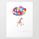 Baby Giraffe Can Fly Art Print by Big Nose Work - X-LARGE