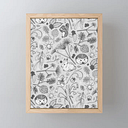 "Winter Woodland Creatures In Black & White Framed Mini Art Print by Perrin Le Feuvre - Light Wood - 3"" x 4"""
