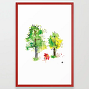 Summer Trees Umbrella Walk Framed Art Print by Masha D'yans - Vector Red - LARGE (Gallery)-26x38