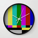Static Tv Wall Clock by For Pete's Sake - Black - White