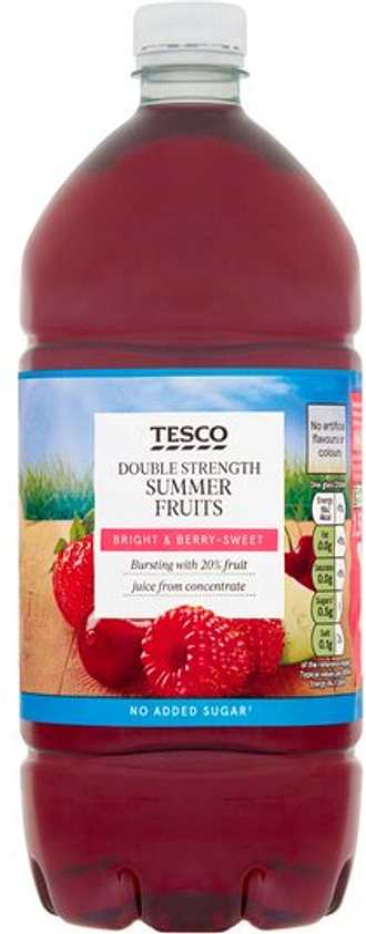 Tesco Double Strength Summerfruits Squash No Added Sugar 1.5L
