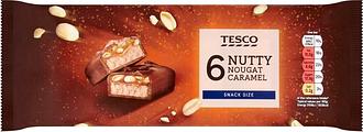 Tesco Nutty Nougat Caramel Bars 6 X 40G
