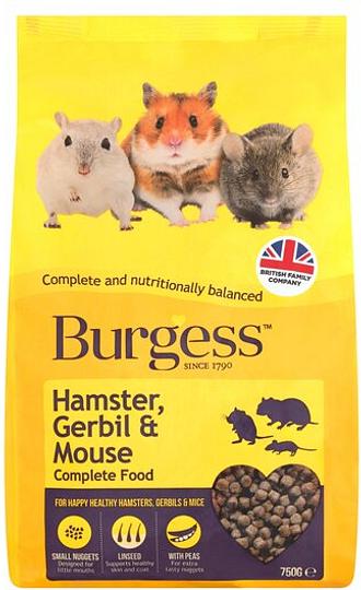 Burgess Hamster Gerbil & Mouse Food Mix 750G