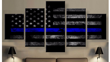 Police Blue Thin Line American Flag Five Piece Canvas Home Decor