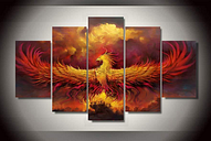 Phoenix Bird Flames Rising Five Piece Framed Canvas Home Decor Wall Art