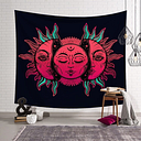 occult gothic wicca pagan witchcraft celestial moon and sun pink and blue tapestry