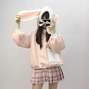 Cute Winter Soft Plush Pink Hoodie with Rabbit Ears