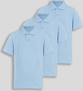 Blue Light Unisex Polo Shirts 3 Pack - Tu Clothing by Sainsbury's