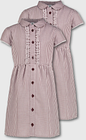 Maroon Gingham Frilled Classic School Dress 2 Pack - Tu Clothing by Sainsbury's