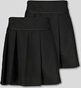 Black Permanent Pleat School Skirt 2 Pack - Tu Clothing by Sainsbury's