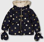 Navy & Gold Spot Print Padded Coat & Mittens - Tu Clothing by Sainsbury's