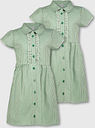 Green Gingham Frilled Classic School Dress 2 Pack - Tu Clothing by Sainsbury's