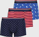 Men's Navy & Red Nautical Print Hipsters 3 Pack