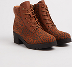 Women's SPOT ON Brown Animal Print Lace Up Boots