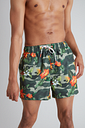 Men's Green Tropical Floral Shortie Recycled Swim Shorts