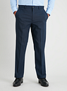 Men's Navy Micro Grid Check Regular Fit Suit Trousers