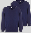 Navy V-Neck Jumpers 2 Pack - Tu Clothing by Sainsbury's
