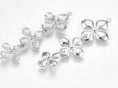 PandaHall Brass Links connectors, Flower, Nickel Free, Real Platinum Plated, 42x15x2.5mm, Hole: 1.2mm Brass Flower