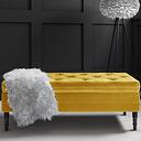 Yellow Velvet Ottoman Storage Bench with Button Detail - Safina