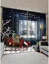 2 Panels Christmas Sleigh Gift Print Window Curtains