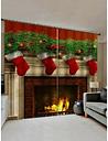 2 Panels Christmas Fireplace Stockings Print Window Curtains