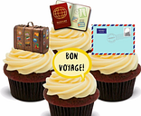 Bon Voyage Edible Cupcake Toppers, Standup Fairy Cake Bun Decorations Leaving