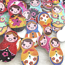 100Pcs Mix Wood Sewing Button Scrapbooking Russian Dolls 2 Holes W391