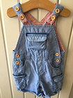 Baby Boy's Clothes 3-6 Months - Blue & Red Striped Dungarees By John Lewis Baby