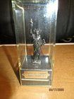 """Small Encased Metal Statue of Liberty from Liberty Island, N.Y.-4 3/8 X 1 7/8"""""""