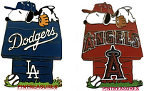 Los Angeles Peanuts with the Snoopy Team Doghouses Pin MLB Baseball SE LTD Pins