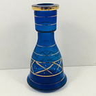 Vintage blue glass  bottle vase decorative hand painted shabby chic 19 cm tall