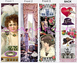 3 - VICTORIAN BOOKMARKS Tea Party Vintage Style ART Book Card Figurine Ornament