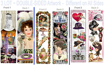 3 Set-VICTORIAN BOOKMARK Tea Party Vintage Style ART Hat Hair Book card Figurine