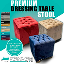 New retro vintage dressing table stool / in royal blue plush velvet