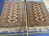 Pair Antique Persian Rugs 3 x 2 Hand Knotted 315 KPI Brown Blue Excellent