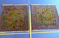 Pair Beautiful Bright Antique Persian Rugs Green Red Hand-Knotted 340 KPI Sarouk