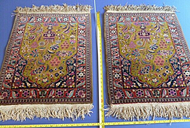 Pair Antique Persian Rugs Olive Red Blue Floral 290 KPI Hand-knotted Sarouk