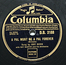 """10"""" 78 - Issy Bonn - A Pal Must Be a Pal Forever - Columbia DB3188"""
