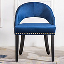 Luxe Blue Velvet Pouffe Stool Vanity Makeup Chair Dressing Table Stool Bedroom