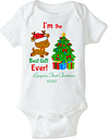 Baby first Holiday outfit, First Christmas personalized Short Sleeve